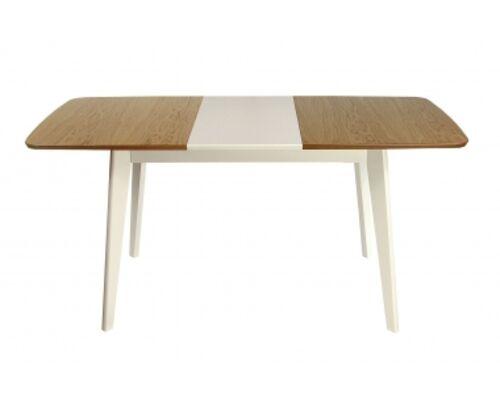 Стол деревянный раскладной Модерн 1200(1600)*750 столешница комбиированная бук/белый - Фото №1