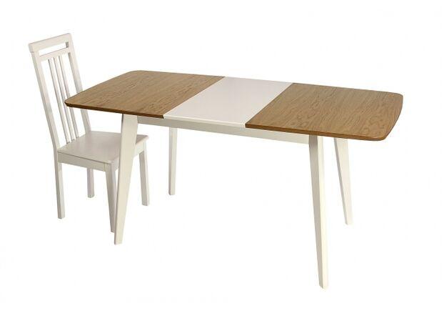 Стол деревянный раскладной Модерн 1200(1600)*750 столешница комбиированная бук/белый - Фото №2