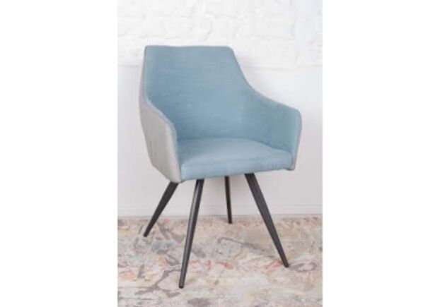 Кресло МAYA (56*60*86 cm - текстиль/экокожа) серо-голубой - Фото №1