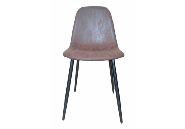 Стул Нубук экокожа, ножки металл темно-коричневый - Фото №1