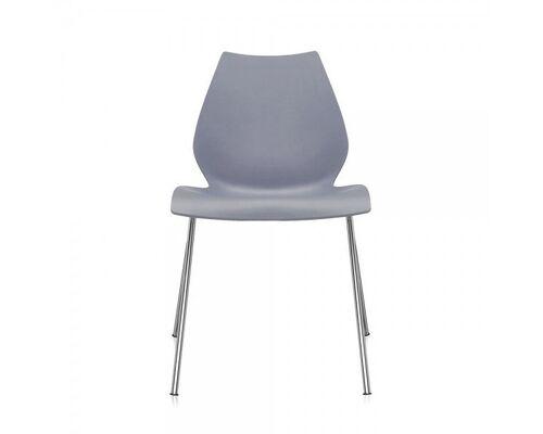 Стул пластиковый Лили серый ножки хром - Фото №1