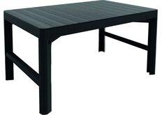 серый стол из искуственного ротанга