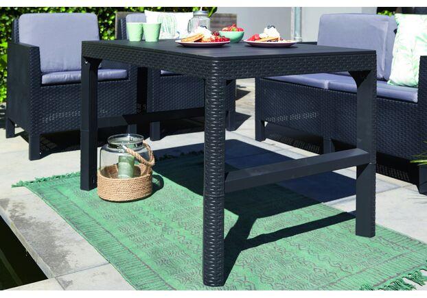 Стол для сада Lyon серый ротанг - Фото №2