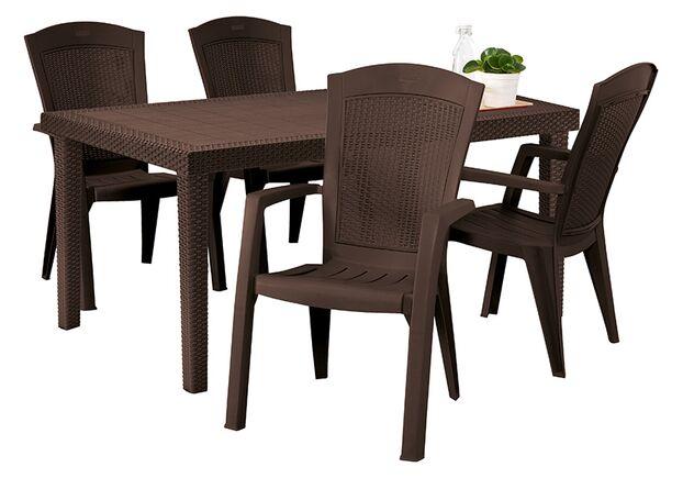 Стол из искусственного ротанга Melody Quartet коричневый - Фото №2