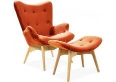 Фото Кресло с высокой спинкой Флорино оранжевое с оттоманкой/ножки бук