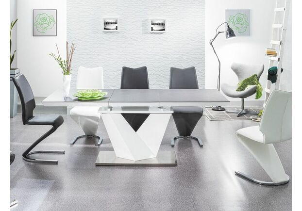 Стол обеденный Alaras ll (80*1200-1800)  черный и белый лак - Фото №2