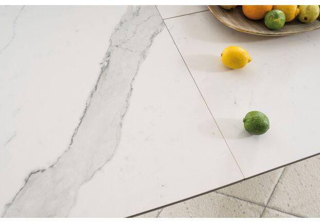 Стол обеденный Signal Armani Ceramic керамический белый мрамор/черный мат - Фото №2
