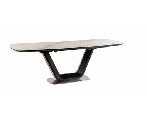 Стол обеденный Signal Armani Ceramic керамический белый мрамор/черный мат - Фото №1