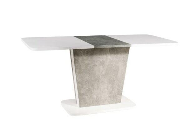 Стол обеденный Calipso белый мат+дуб вотан с эффектом бетона - Фото №1