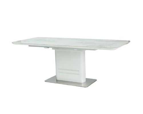 Стол обеденный Cartier Ceramic белый мрамор/белый лак - Фото №1