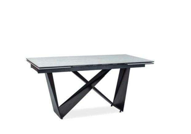 Стол обеденный Cavalli II  белый мрамор и черный мат - Фото №1