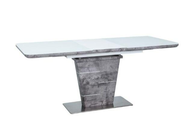 Стол обеденный Ilario белый лак+бетон - Фото №1