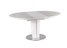 Стол обеденный Orbit Ceramic (1200-1600) круглый суперский белый матовый с эффектом мрамора