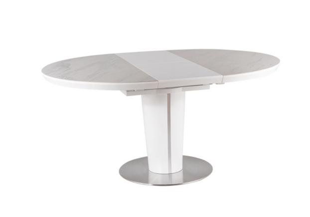 Стол обеденный Orbit Ceramic (1200-1600) белый матовый с эффектом мрамора - Фото №1