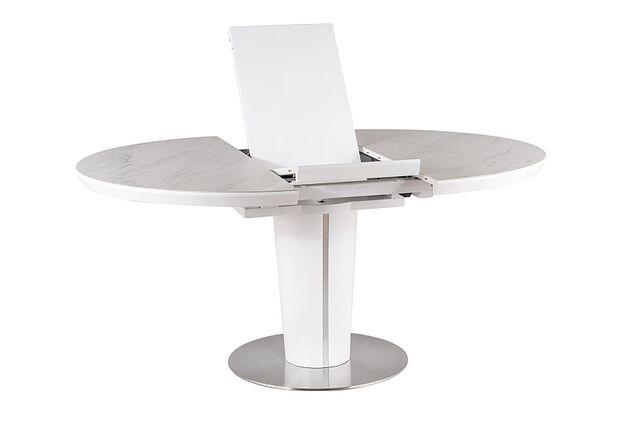 Стол обеденный Orbit Ceramic (1200-1600) белый матовый с эффектом мрамора - Фото №2
