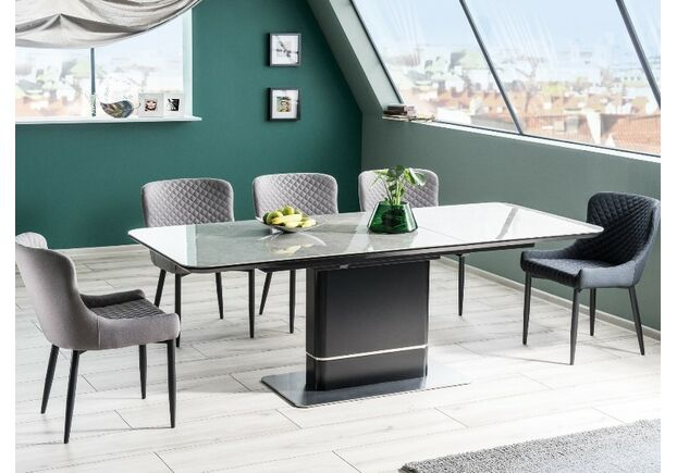 Стол обеденный Pallas Ceramic серый/черный мрамор  - Фото №2