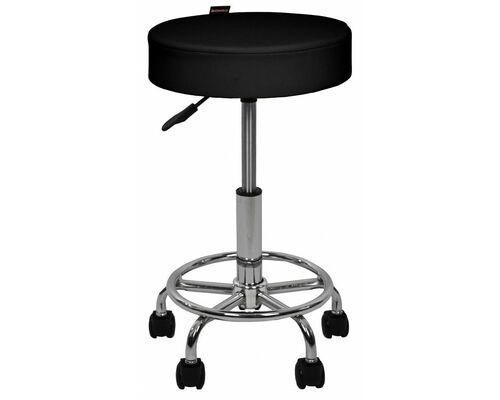 Кресло табурет на колесах без спинки круглое B-830 черное - Фото №1
