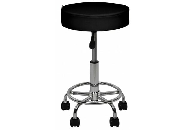 Кресло табурет на колесах без спинки круглое B-830 черное - Фото №2