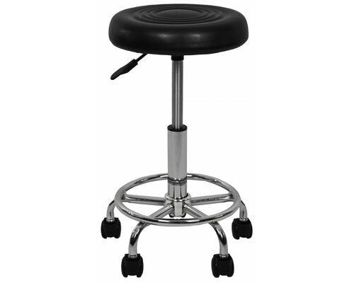 Кресло табурет на колесах без спинки круглое B-775-1 черное - Фото №1