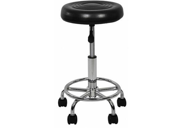 Кресло табурет на колесах без спинки круглое B-775-1 черное - Фото №2