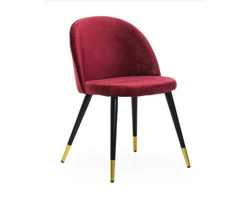 Стул М-12-4 вельвет красный ножки металлические черные  с золотыми наконечниками - Фото №1