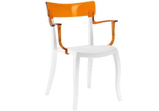 Кресло барное пластиковое Hera-K  верх прозрачно-оранжевый/сиденье белое - Фото №1